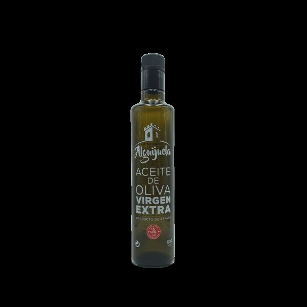 Imagen de una botella de AOVE Dorica 500ml Variedad Arbequina Aceites Alguijuela
