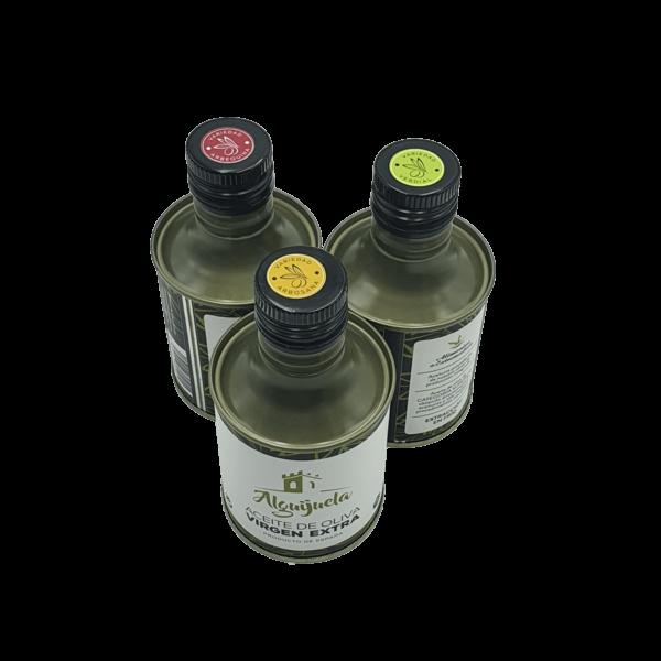 Imagen de las variedades de las latas de AOVE 250ml Aceites Alguijuela