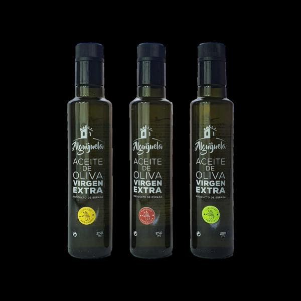 Imagen de las Botellas de AOVE Doricas de 250ml Arbequina, Verdial y Arbosana Aceites Alguijuela