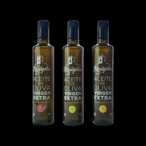 Imagen de Botellas de AOVE Doricas de 500ml Arbequina, Verdial y Arbosana Aceites Alguijuela