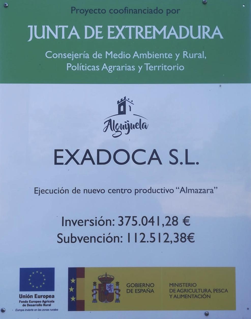 Proyecto coofinanciado por la Junta de Extremadura, Consejería de Medio Ambiente y Rural, Políticas Agrarias y Territorio para EXADOCA S.L.